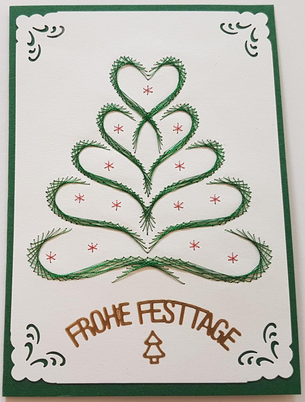 Fadengrafik Grußkarten Weihnachten